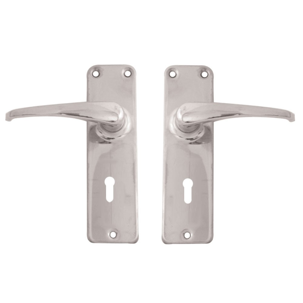 Fortis Handle F01 on Backplate SS Lock
