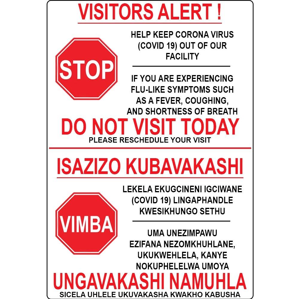 Fortis Sign Bilingual 300 x 420mm Visitors Alert