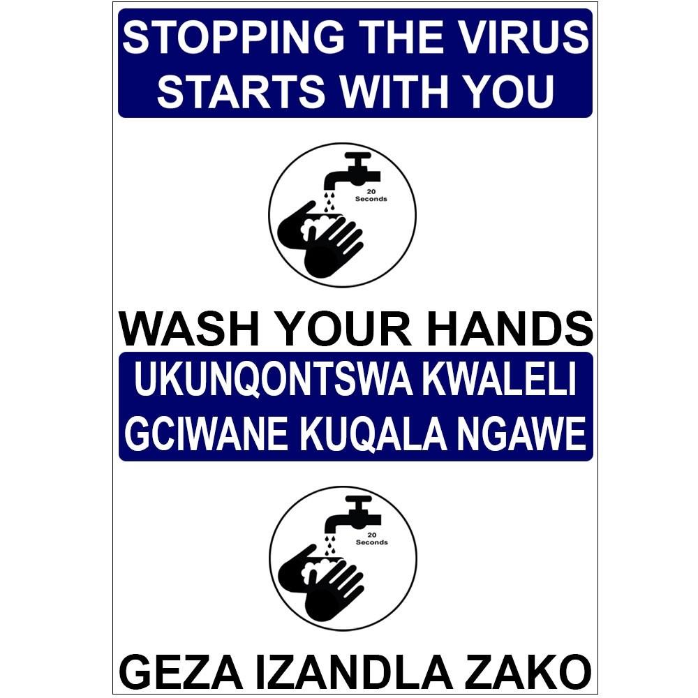 Fortis Sign Bilingual 300 x 420mm Wash Hands